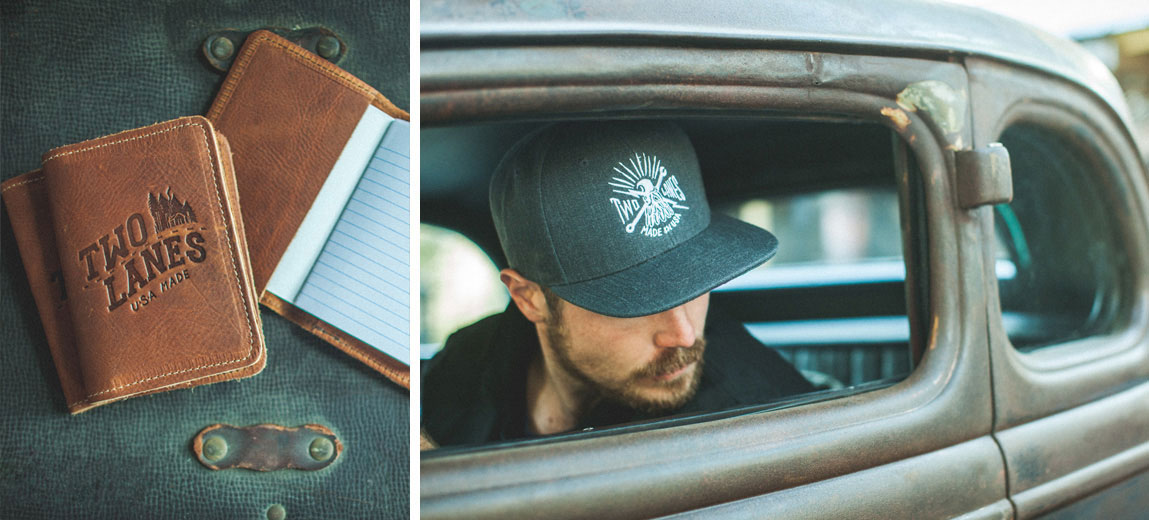 Two Lanes journal and hat for back roads travel